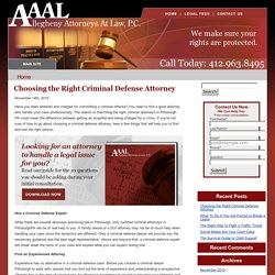 Choosing the Right Criminal Defense Attorney