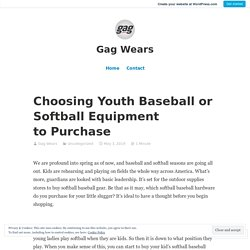 Choosing Youth Baseball or Softball Equipment to Purchase – Gag Wears