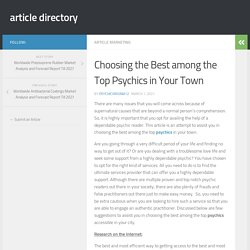 Choosing the Best among the Top Psychics in Your Town