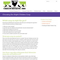 Choosing The Right Chicken Coop | Urban Chickens
