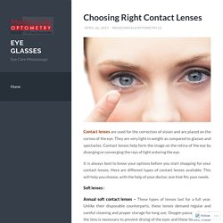 Choosing Right Contact Lenses