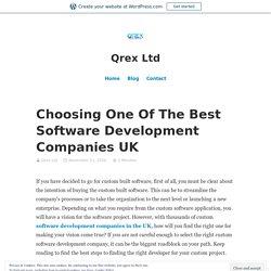 Choosing One Of The Best Software Development Companies UK