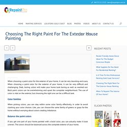 How To Choose Right Paint For Exterior House Painting