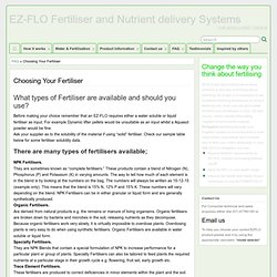Choosing Your Fertiliser - EZ-FLO Fertiliser and Nutrient delivery Systems