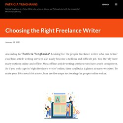 Choosing the Right Freelance Writer