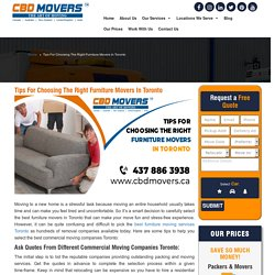 Tips For Choosing The Right Furniture Movers In Toronto