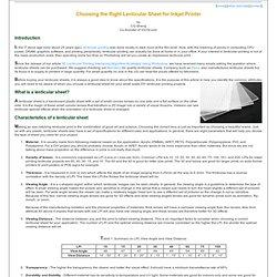 Choosing the Right Lenticular Sheet for an Inkjet Printer
