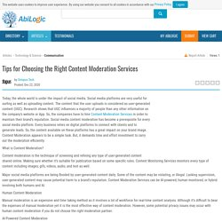 Tips for Choosing the Right Content Moderation Services