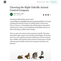 Choosing the Right Oakville Animal Control Company