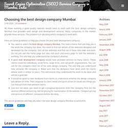 Choosing the best design company Mumbai - Search Engine Optimization (SEO) Services Company in Mumbai, India