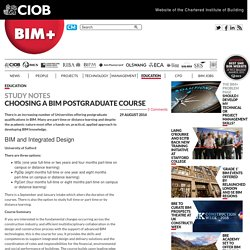 BIM+ - Choosing a BIM postgraduate course
