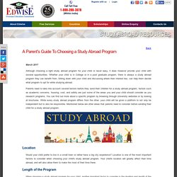 A Parent's Guide To Choosing a Study Abroad Program