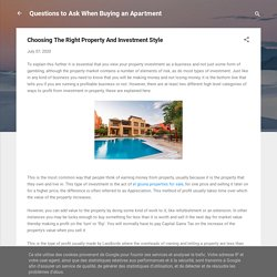 Choosing The Right Property And Investment Style