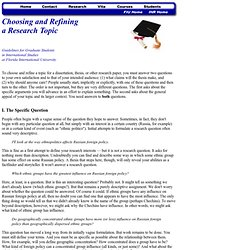 Selecting & Refining a Research Topic