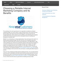 Choosing a Reliable Internet Marketing Company and Its Benefits
