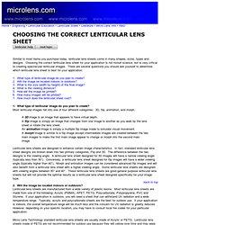 Choosing Right Lens Sheet