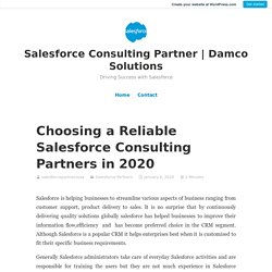Choosing a Reliable Salesforce Consulting Partners in 2020