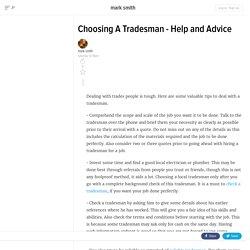 Choosing A Tradesman - Help and Advice