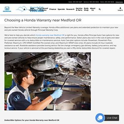 Choosing a Honda Warranty near Medford OR
