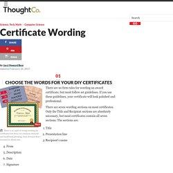 Choosing Wording for Certificates
