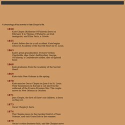 Kate Chopin: A Re-Awakening—Chronology