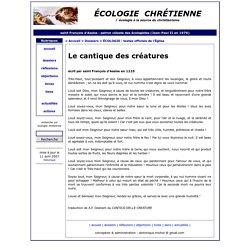 Le cantique des créatures de Saint François d'Assise - l´écologie chrétienne : l'engagement du christianisme en écologie