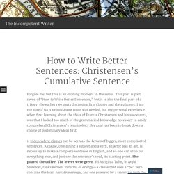 How to Write Better Sentences: Christensen's Cumulative Sentence