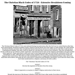 Christian Black Codes of 1724