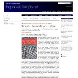 'Braudel, Fernand (1902-1985)'.