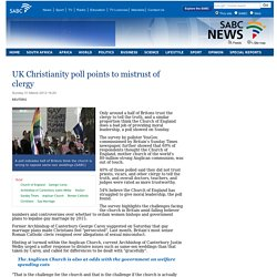UK Christianity poll points to mistrust of clergy:Sunday 31 March 2013