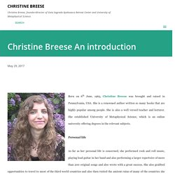 Christine Breese An introduction