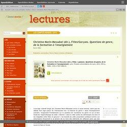 Christine Morin-Messabel (dir.), Filles/Garçons. Questions de genre, de la formation à l'enseignement