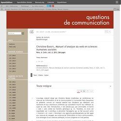 Manuel d'analyse du web en sciences humaines sociales, Christine Barats