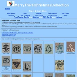 Christmas Ornaments Paper and Spun Glass Postcards and Menus