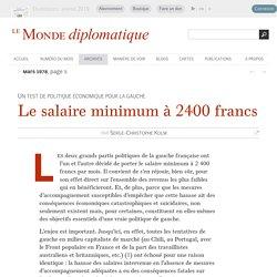 Le salaire minimum à 2400 francs, par Serge-Christophe Kolm (Le Monde diplomatique, mars 1978)