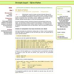Christophe Jacquet— SQLite et Python