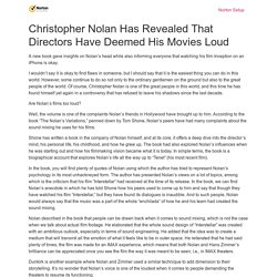 Christopher Nolan Has Revealed That Directors Have Deemed His Movies Loud - Ask Setup