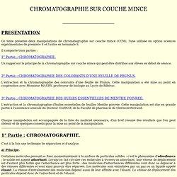 Science et oeuvres d 39 art pearltrees - Chromatographie sur couche mince principe ...