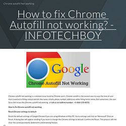 Chrome autofill Not working