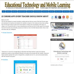 Educational Technology and Mobile Learning: 22 Chrome Apps Every Teacher Should Know about