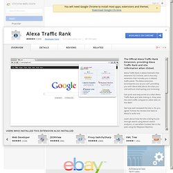 Chrome Web Store - Alexa Traffic Rank