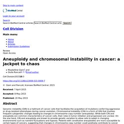 Aneuploidy and chromosomal instability in cancer: a jackpot to chaos