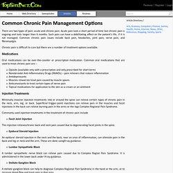 Common Chronic Pain Management Options