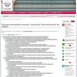 """SENAT 09/05/09 Rapport de Jean-Jacques Jégou """"La gestion par l'Etablissement de préparation et de réponse aux urgences sanitaire"""