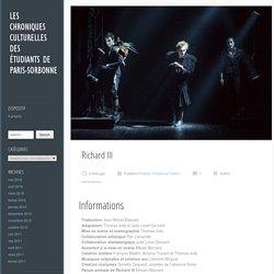 Richard III - Les chroniques culturelles des étudiants de Paris-Sorbonne