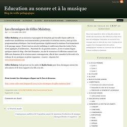 Les chroniques de Gilles Malatray.