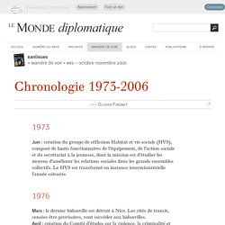 Banlieues : chronologie 1973-2006, par Olivier Pironet