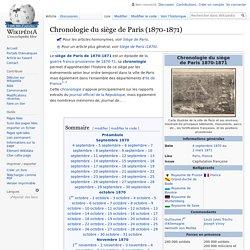 Chronologie du siège de Paris (1870-1871)