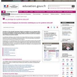 Séries chronologiques de données statistiques sur le système éducatif
