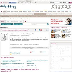 FORUM AU FEMININ 07/01/08 mincir sans se priver avec la chrononutrition
